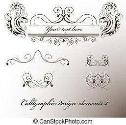éléments, conception, calligraphic