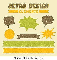éléments, conception, retro, collection