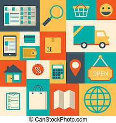éléments, conception, supermarché, ligne