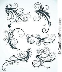 éléments, décoratif, floral