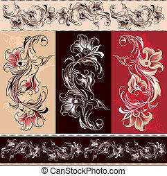 éléments, décoratif, ornement, floral
