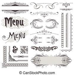 éléments décoratifs, &, calligraphic, vecteur, conception, décorations, orné, page