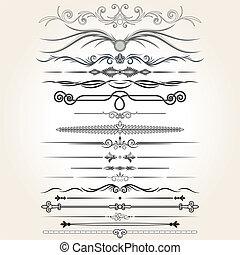 éléments décoratifs, vecteur, règle, lines., conception
