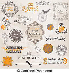 éléments, décoration, étiquette, collection, calligraphic, vecteur, conception, vendange, fleurs, page, set: