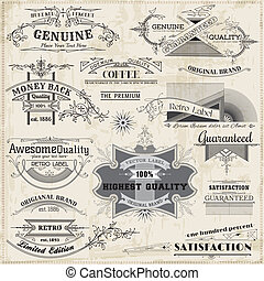 éléments, décoration, cadre, collection, calligraphic, vecteur, conception, vendange, page, set:
