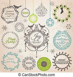 éléments, décoration, calligraphic, vecteur, conception, vendange, cadres, noël, set:, page