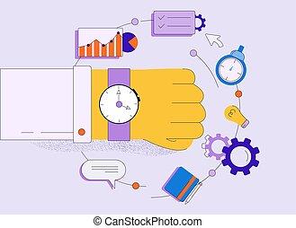 éléments, dessin animé, business, poignet, entouré, isolé, montre, main humaine, blanc