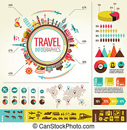 éléments, données, icônes voyage, infographics, tourisme