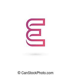 éléments, e, lettre, conception, gabarit, logo, icône