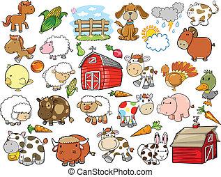 éléments, ferme, vecteur, conception, animal