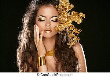 éléments, girl, mode, makeup., beauté, noir, style., décoratif, vogue, isolé, jewelry., hairstyle., doré, arrière-plan.