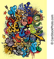 éléments, graffiti, vecteur