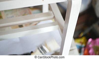 éléments, main bois, paint., blanc, someone's, peinture, meubles