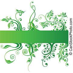 éléments, nature, vecteur, conception, floral, vert
