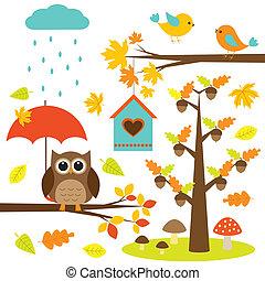 éléments, oiseaux, arbres, ensemble, vecteur, owl., automnal