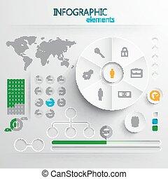 éléments, ou, toile, résumé, papier, impression, ensemble, vecteur, infographic, conception, 3d