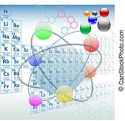 éléments, périodique, conception, atomique, table, chimie
