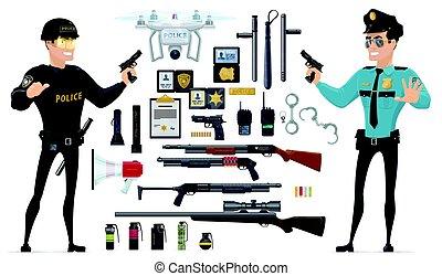 éléments, police, collection