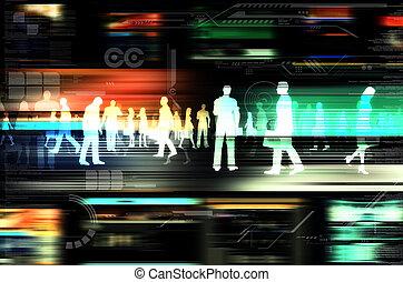 éléments, professionnels, intérieur, virtuel, illustré, site web, hitech, mondiale, clignotant, internet., design.