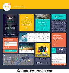 éléments, site web, plat, conception