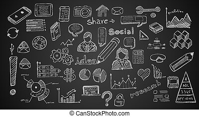 éléments, social, ensemble, média, infographics, croquis, doodles