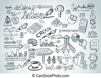 éléments, social, isolé, ensemble, média, infographics, croquis, doodles
