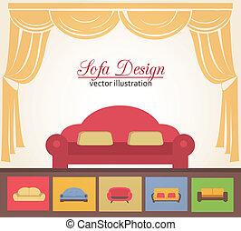 éléments, sofa, divan, conception, affiche, ou