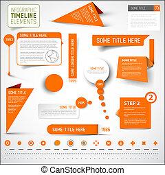 éléments, timeline, /, infographic, gabarit, orange