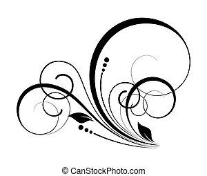 éléments, tourbillon, décoratif, fleurir