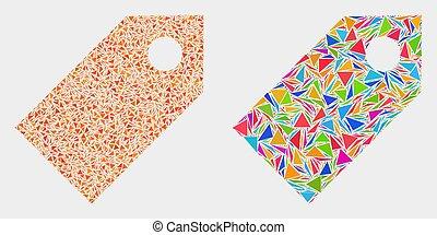 éléments, triangle, étiquette, vecteur, mosaïque, icône