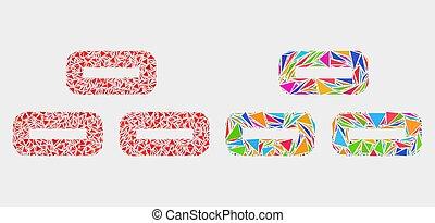 éléments, triangle, briques, vecteur, mosaïque, icône