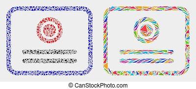 éléments, triangle, certificat, vecteur, mosaïque, icône