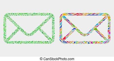éléments, triangle, enveloppe, vecteur, mosaïque, icône