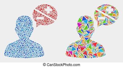 éléments, triangle, personne, vecteur, arguments, mosaïque, icône