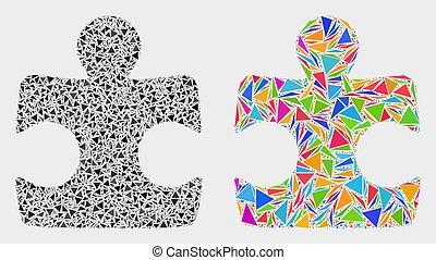 éléments, triangle, puzzle, élément, vecteur, mosaïque, icône