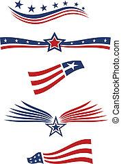 éléments, usa, conception, drapeau, étoile
