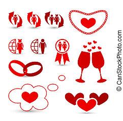 éléments, valentine, mariage, conception, infographics, jour