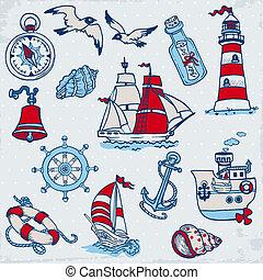 éléments, -, vecteur, conception, mer, nautique, album