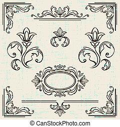éléments, vendange, calligraphic, décoration, frames., conception, page