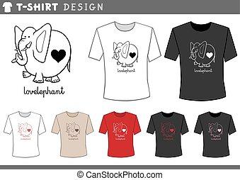 éléphant, amour, chemise, t