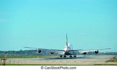 éléphant, atterrissage, a380, airbus, jet, avion commercial