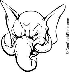 éléphant, caractère, mascotte
