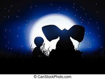 éléphant, ciel nuit, contre, garçon, silhouette, silhouetted