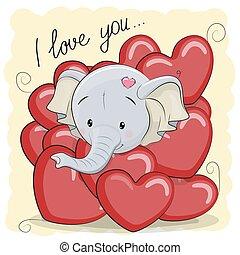 éléphant, dessin animé, cœurs, mignon
