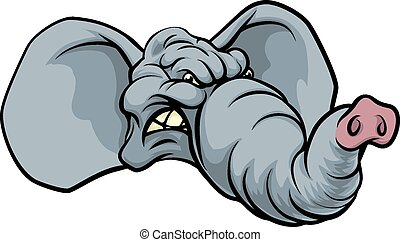 éléphant, dessin animé, mascotte
