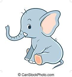 éléphant, dessin animé, mignon, bébé