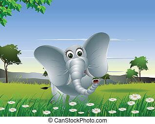 éléphant, forêt, dessin animé