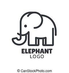 éléphant, logo, minimal