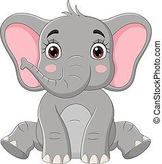 éléphant, mignon, séance, peu, dessin animé