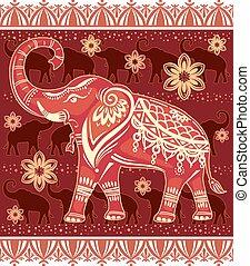 éléphant, stylisé, décoré